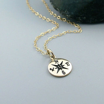 Gold Compass Necklace, 14k Gold Fill, Graduation gift, Enjoy the Journey, Travel jewelry, Good Luck