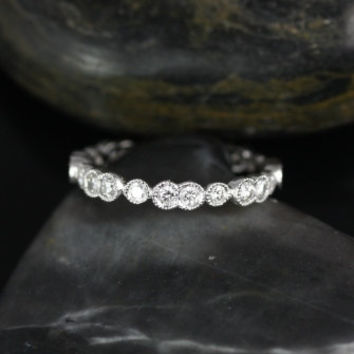 Bethany 14kt Double & Single Bubble WITH Milgrain Diamond FULL Eternity Band (Other Metals Available)