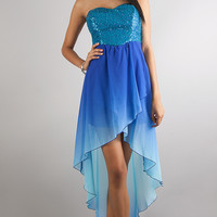 High Low Strapless Sweetheart Ombre Dress