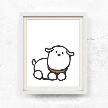 Dog illustration, Children's art, Printable poster, Digital download, Nursery, Black & White, Dog wall art, woodland, Kids print, Dog print
