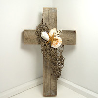 Coastal Home Decor, Barnwood Cross, Beach Home Decor, Ocean Inspired, Rustic Wall Hanging, Barnwood Art