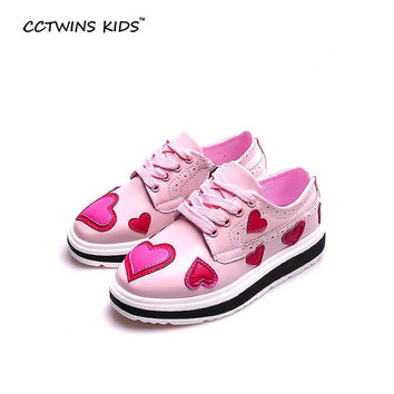CCTWINS KIDS 2017 spring slip-on love shoe for children fashion pu leather shoe baby girl brand casual sneaker platform kid G994
