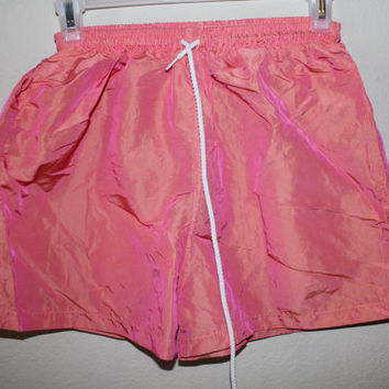 pink iridescent holographic shiny shorts