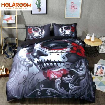Halloween Bedding Set Skull Style Bed Sheet Queen King Double Bed Cover Flat Sheet Pillow Case Blend Skull Duvet Cover Set