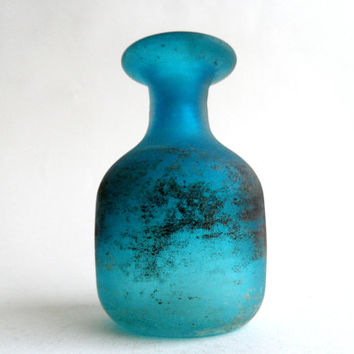 Murano Cenedese Scavo Vase, vintage turquoise satinato art glass, Italy, Italian, label
