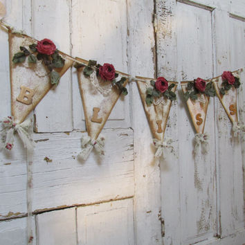 Cottage chic bunting banner deep pink roses gold lettering handmade distressed and painted garland flags wall decor anita spero