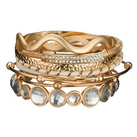 Textured Gem And Wave Bracelet Set - White