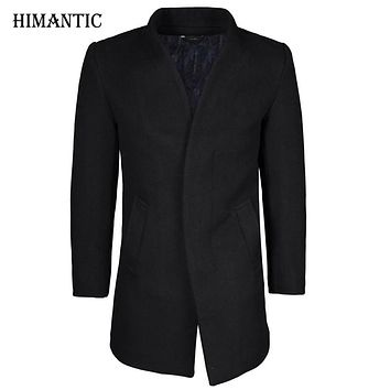 Winter wool coat men long sections thick woolen coats Men Casual Fashion Jacket pea coat overcoat