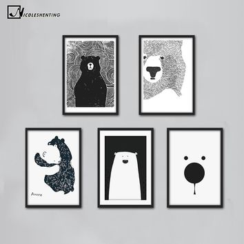 Cartoon Polar Bear Animal Nordic Art Canvas Poster Minimalist Print Black White Wall Picture Modern Home Kids Room Decoration
