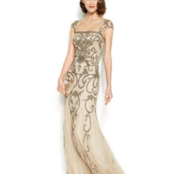Adrianna Papell Rose-Print Keyhole Mermaid Gown | macys.com