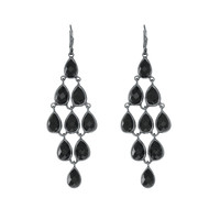 Chandeliers Of Faceted Black Onyx Earrings Set In Black Rhodium Plated Sterling Silver