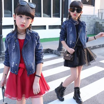 Trendy Children's clothing 2018 new big girls spring denim Jackets baby clothes sets kids personality two pieces suits for 4 to 14 yrs AT_94_13