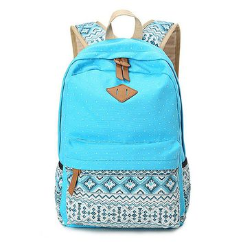 Day-First™ Women's Blue Polka Dots Backpack for College Bookbag for Teen Girls School Bag