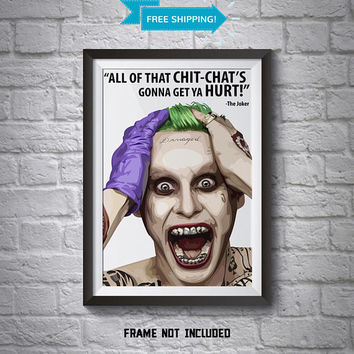 Jared Leto Joker Poster - Wall Art Poster - A4 Poster - Joker Poster - Printed Movie Poster - Boys Room Decor - Batman Print - Suicide Squad