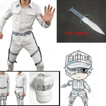 Cool Cells At Work Cosplay Neutrophil Uniforms Hat Anime Hataraku Saibou White Blood Cell Outfits Cap Full Set Cosplay CostumeAT_93_12