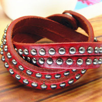 Punk Rock Red Leather Bracelet Rivet Button Cool Bracelet  Women Bracelet Men Leather Bracelet Bracelet Mens Bracelet 1076S