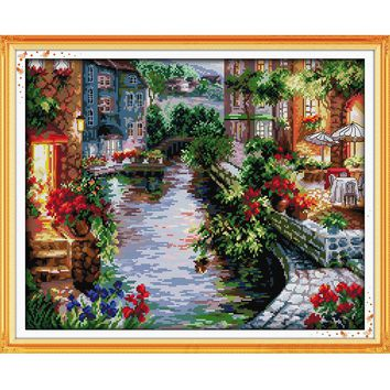 Lakeside Houses Counted Cross Stitch 11CT 14CT DMC