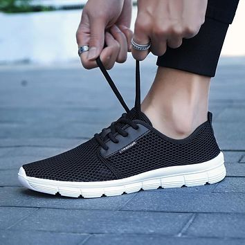 SUROM Unisex Sneakers Mesh Breathable Men Shoes Casual Women Flats Lightweight Lace Up Walking Shoes Comfortable Big Size 35~48
