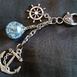Nautical Fried Marble Anchor Love Charm Icy Blue Keychain