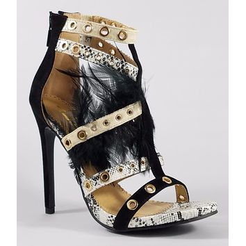 "Alba Doris 7 Black Multi Color Strappy Shoe 4.5"" Stiletto Heel Feathers"