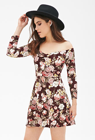 6a0a1df0199 FOREVER 21 Floral Print Skater Dress from Forever 21