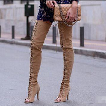 Hot Selling Open Toe Lace Up Fashion Boots Women Sexy High Heel Over The Knee Boots Suede Leather Thigh High Boots Plus Size