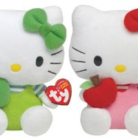 Ty Beanie Baby Hello Kitty Green and Red Apple Set