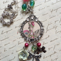 Marie Antoinette Inspired Necklace - Beaded Pendant Necklace - French Queen Portrait