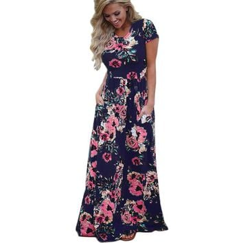 Women Long Maxi Dress 2019 Summer Floral Print Boho Beach Dress Short Sleeve Evening Party Dress Tunic Vestidos Plus Size Xxxl