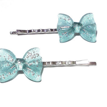 Blue Glitter Bow Bobby Pins Cabochon Hair Pins Party Bachelorette Accessories