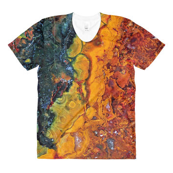 Agate Marble Rainbow Sublimation women's crew neck t-shirt