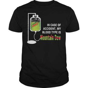 In case of accident my blood type is mountain dew shirt Premium Fitted Guys Tee