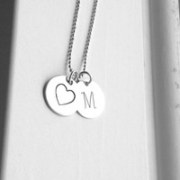 M Monogram Necklace, Initial Necklace, Heart Necklace, Letter M Necklace, Sterling Silver Large Initial Necklace, Capital M Charm Necklace