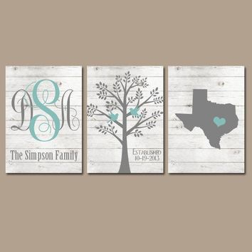Family Tree Wall Art, White Wash Wood, Farmhouse Monogram CANVAS or Prints, Pictures Wedding Gift, Name Date Tree Birds State Set of 3