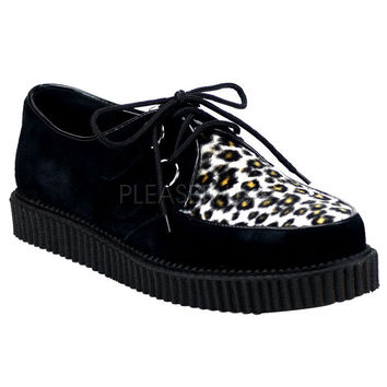 Demonia Black and Leopard One Inch Creepers