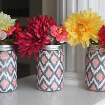 Mason Jar Vases, Mason Jars, Pink and Grey Mason Jars, Mason Jar Set, Mason Jar Centerpiece, Tween Room Decor, Pink Decor, Grey Vase, Gift