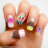 Cupcake Nails on Clear with Sprinkles