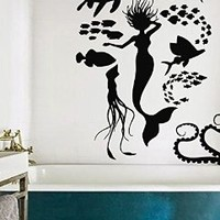 Mermaid Wall Decals Decal Vinyl Sticker Water Nymph Shell Bathroom Shower Girl Nursery Bedroom Girl Home Decor Art Murals MN957