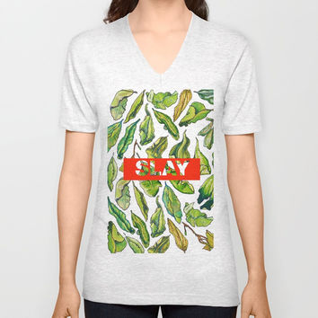 slay tea slay! // watercolor tea leaf pattern with millennial slang Unisex V-Neck by Camila Quintana S