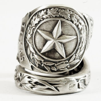 Texas Ring, Sterling Silver Spoon Ring, Texas Star Texas Love, Texas Longhorn Bull Handmade Jewelry, Eco Friendly, Adjustable Ring Size 6028