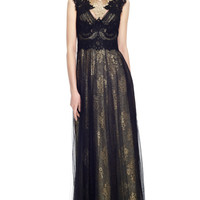 Engineered Metallic Lace Column Gown With Tulle Overlay by Marchesa for Preorder on Moda Operandi