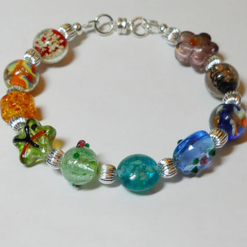 Beaded Bracelet, Rainbow color beads, silver beads, lampwork glass beads, Magnetic clasp Made in the USA, Love, Beach, Sanibel Island