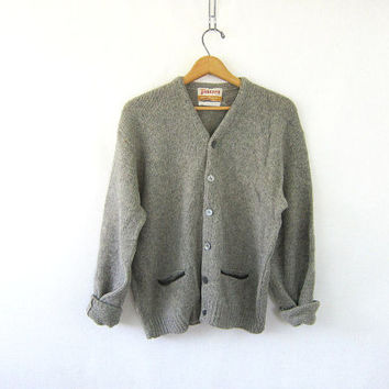 vintage gray Jantzen wool sweater. button up cardigan sweater. boyfriend sweater. grandpa sweater with elbow patches and pockets.