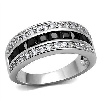WildKlass Stainless Steel Ring High Polished (no Plating) Women AAA Grade CZ Black Diamond