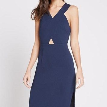 Navy Cut Out Dress With Side Slit