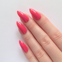 Grapefruit Stiletto nails, Nail designs, Nail art, Nails, Stiletto nails, Acrylic nails, Pointy nails, Fake nails