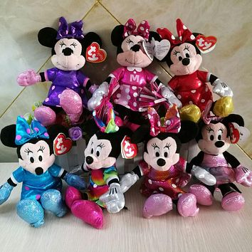 MINNIE mouse Mickey sparkle rainbow ballerina sparkle teal tie dye red minnie 20CM plush Toys soft toys kids toys collection