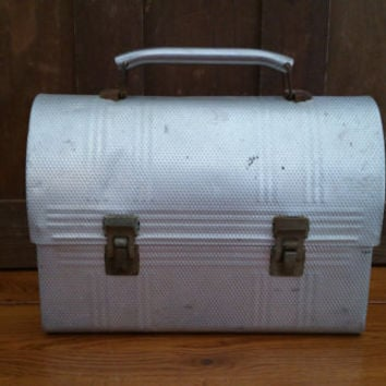 Vintage Silver Industrial Metal Domed Thermos Lunch Box