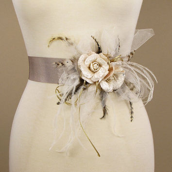 Bridal Sash Wedding Dress Belt Vintage by EricaElizabethDesign