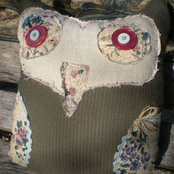 Shabby Chic owl pillow of vintage corduroy and linen,    with floral cotton and seed bead accents